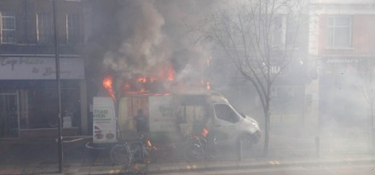 Van erupts in fire, burning Mare Street shop