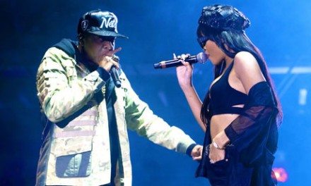 Star attraction … Jay-Z and Rihanna perform on Saturday night. Photograph: Neil Lupin/Redferns via Getty Images