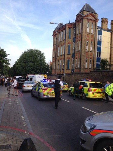 Emergency services at the scene on Homerton High Street