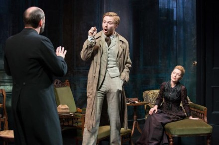 Will Keen (Pastor Manders), Jack Lowden (Oswald Alving) and Lesley Manville (Helene Alving) in Ghosts - Hugo Glendinning