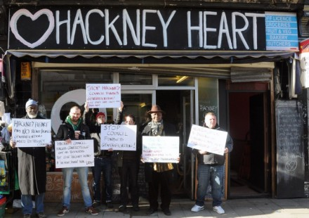 Proters outside Hackney Heart.