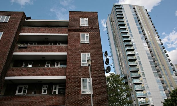 Woodberry Down: new builds next to the old flats. Photograph: Martin Godwin for the Guardian
