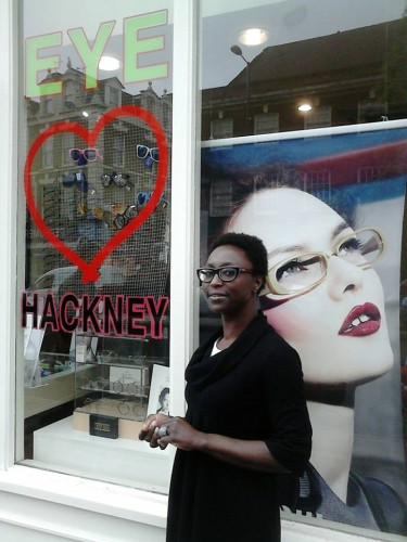 Margaret Asare outside her Mare Street optical practice. Photo: Hackney Hive