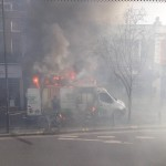 Van erupts in fire, burning Mare Street shop