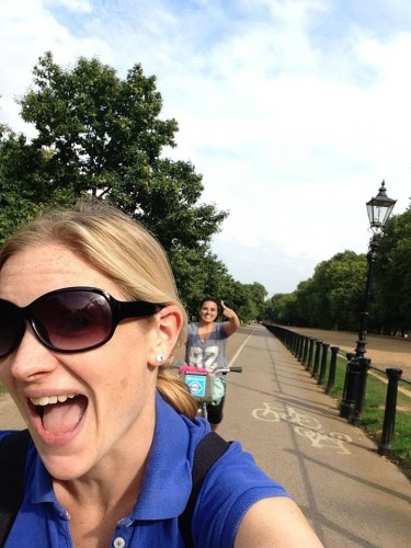 Stephanie Turner and Natasha Darbar Woodland cycling through Hyde Park last summer. Photo Courtesy of Natasha-Darbar-Woodlands