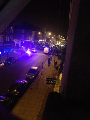 The scene following the stabbing on Chatsworth Road. Image:   ‏@HeNrY9719