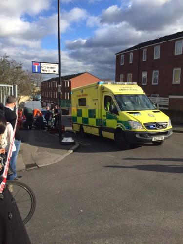 Paramedics aid stabbing victim