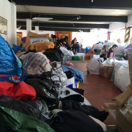 Donations mounts inside The Hive in Haggerston. Photo: @MissNicolaSian